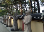 All the zodiac signs lined up outside a seaside temple in Busan.